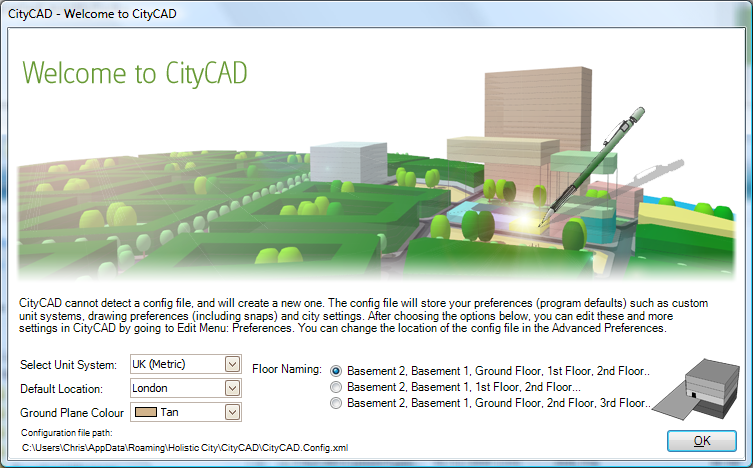 CityCAD welcome screen