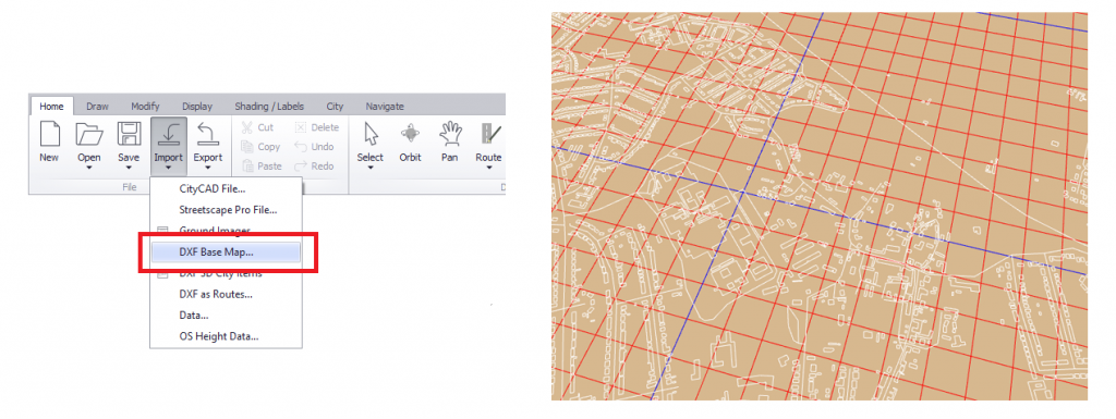 Screenshot showing a base map imported into CityCAD