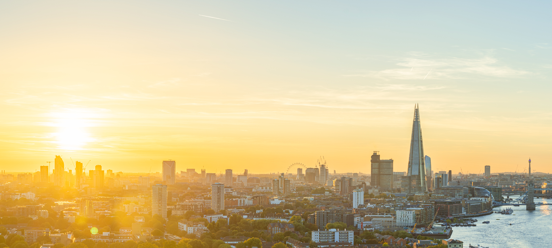 Sunset view of London looking west